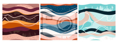 Nálepka Set of three hand drawn abstract contemporary seamless patterns. Smooth lines. Stone texture. Modern trendy colorful illustration in vector. Marbleized effect. Every pattern is isolated