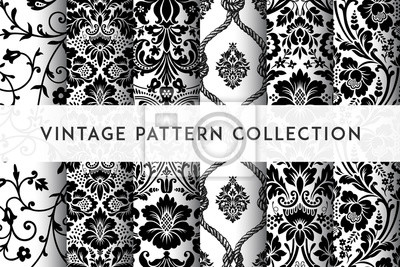 Nálepka Set of Vector seamless damask patterns. Rich ornament, old Damascus style pattern for wallpapers, textile, packaging, design of luxury products - Vector Illustration