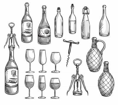 Nálepka Set of wine bottles, glasses and corkscrews