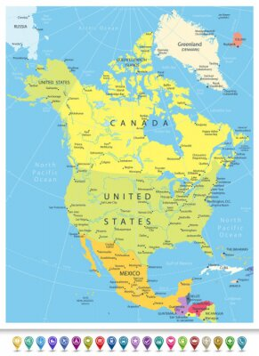 Nálepka Severní Amerika Detailní Politická mapa s navigačními ikonami