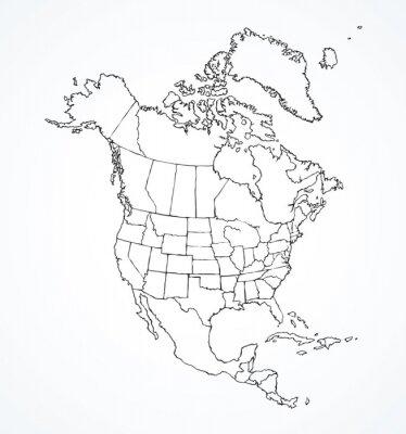Nálepka Severoamerický kontinent s konturami zemí. Vektorové kreslení