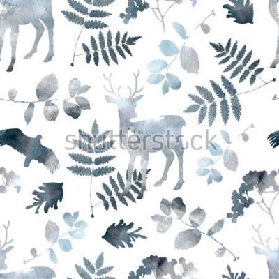 Nálepka Severské lesní bezproblémové vzorek s jelenem, ptáky, listovými prvky. Akvarel ručně kreslený