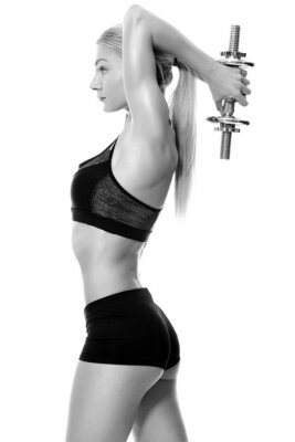 Nálepka Sexy a fit žena zvedání rukou závaží