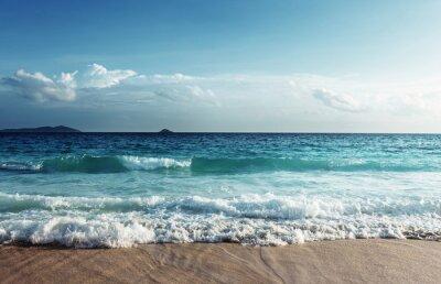 Nálepka Seychely pláž v době západu slunce