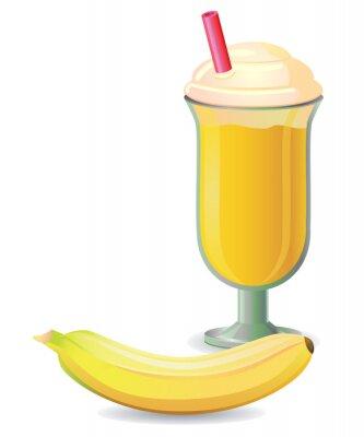 Nálepka Shake Banana slámou vektorem