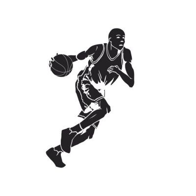 Nálepka Silueta basketbalový hráč driblování míčem
