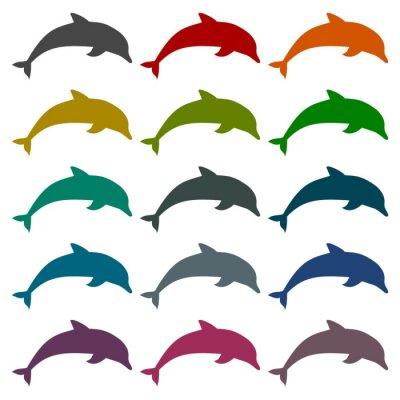 Nálepka Silueta delfín ikony set