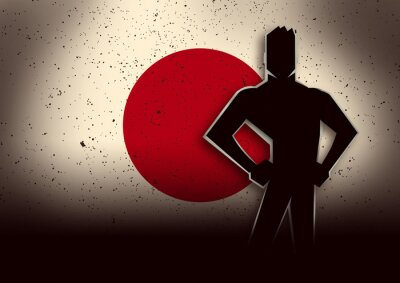 Nálepka Silueta Ilustrace Muž, stojící před Japan Flag
