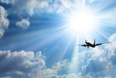 Nálepka Silueta letadla s krásnou oblohou