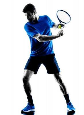 Nálepka silueta muže hrát tenis hráč