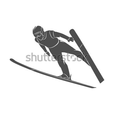Nálepka Silueta skákání lyžař na bílém pozadí. Fotografie ilustrační.