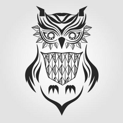 Nálepka silueta sova. grafický design. vektorové ilustrace.