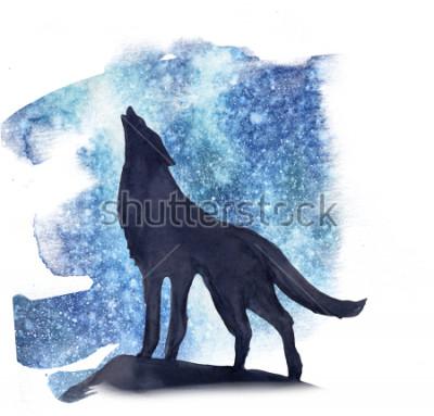 Nálepka silueta vlk na pozadí severní světla akvarel. Polární záře