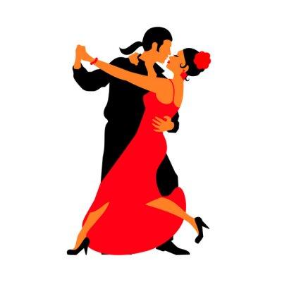 Nálepka Siluety párů tančí společenské tance. Tango