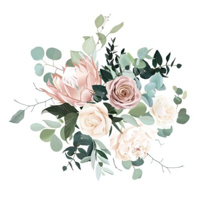 Nálepka Silver sage and blush pink flowers vector design bouquet.