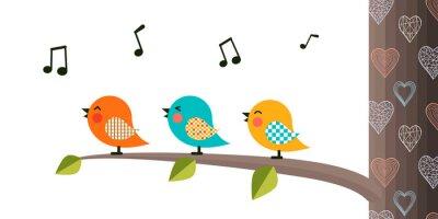 Nálepka Singing Birds on a branch.