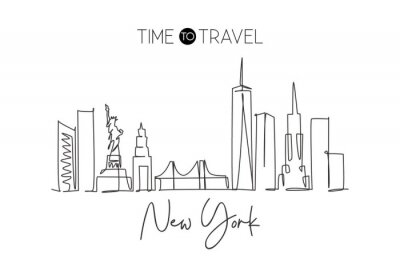 Nálepka Single continuous line drawing of New York city skyline, USA. Famous city scraper and landscape. World travel concept home wall decor poster print art. Modern one line draw design vector illustration