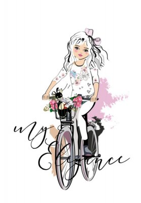Nálepka Sketch of a cute fashion girl with a dog riding the bicycle. Hand drawn vector illustration.