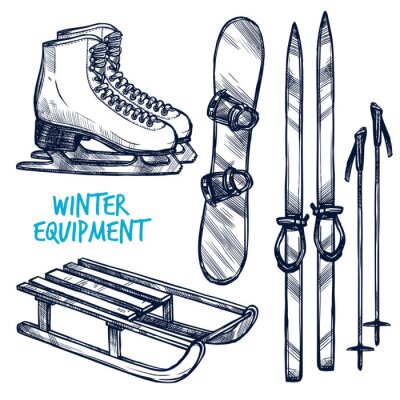 Nálepka Sketch Winter Sport Objekty