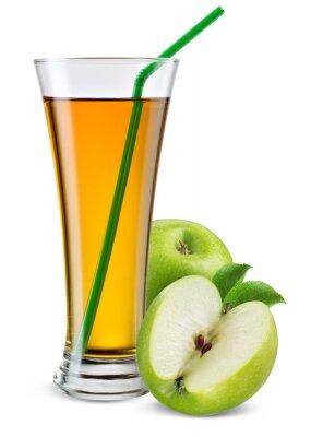 Nálepka Sklenice jablečné šťávy s ovocem na bílém.