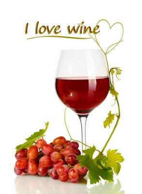 Nálepka Sklenka vína a vyzrálých hroznů s I love textu víno izolované