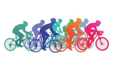Nálepka Skupina cyklistů v cyklistický závod