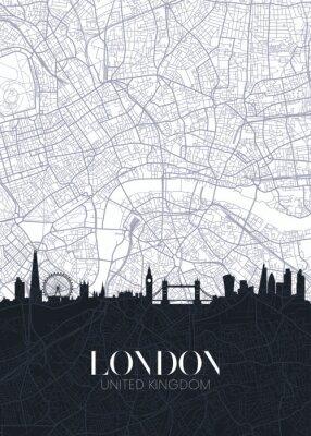 Nálepka Skyline and city map of London, detailed urban plan vector print poster