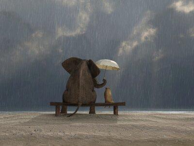 Nálepka slon a pes sedět v dešti