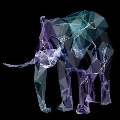 Nálepka Slon v designu polygonu. Digitální ilustrace. Pojem