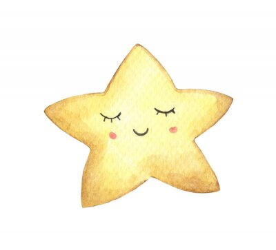 Nálepka Smile face in the shape of star. Isolated on white background. Hand drawn watercolor illustration.