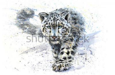 Nálepka Snow leopard animals watercolor predator wildlife