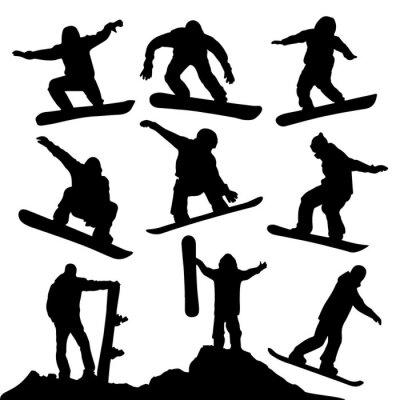 Nálepka Snowboardové Siluety
