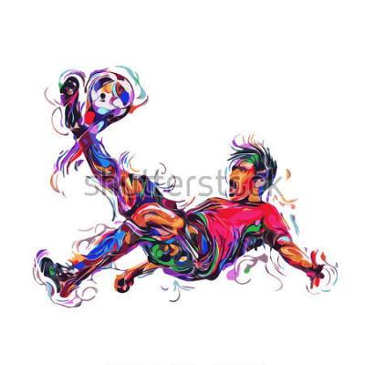 Nálepka soccer player colorful kicks / art