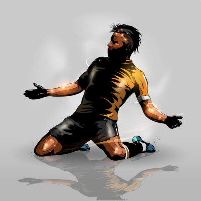 Nálepka soccer player scoring goal