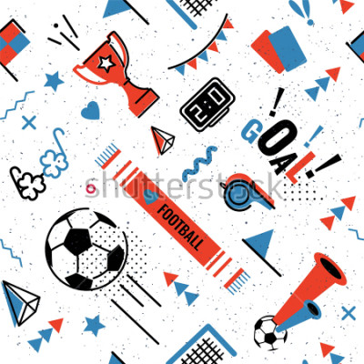 Nálepka Soccer/football abstract background in 80s memphis style. Seamless memphis pattern for posers and cards. Vector illustration