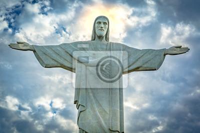 Nálepka Socha Krista Spasitele v rámci dramatické při západu slunce. Krista Spasitele je socha Art Deco vytvořil francouzský sochař Paul Landowski