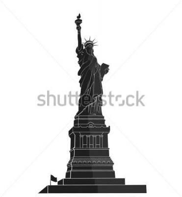 Nálepka Socha svobody. Mezník New York. Americký symbol. plochá silueta