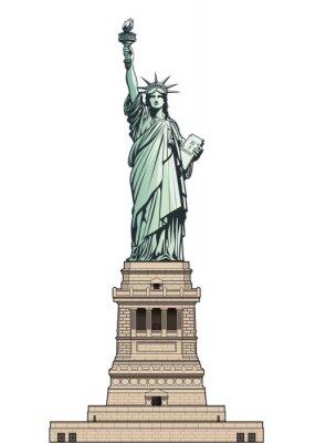 Nálepka Socha svobody na jejím základním podstavci. Vektorové ilustrace