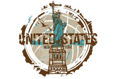 Nálepka Socha svobody, New York / USA. Městský design. Ručně tažené ilustrace.