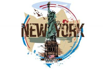Nálepka Socha svobody, New York / USA. Návrh města. Ručně kreslená ilustrace.