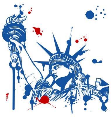 Nálepka Socha svobody s pochodní s inkoustem odkapávání