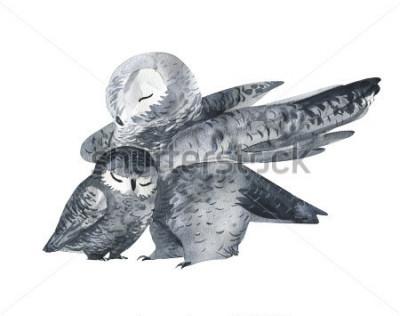 Nálepka Sova a dětská akvarelová technika. Lesní zvířata. Ručně malované realistické ilustrace Izolovaných na bílém pozadí. Den matek, ručně.