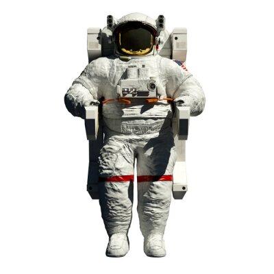 Nálepka spacewalking astronaut - 3d ilustrace čelní pohled na bílém pozadí