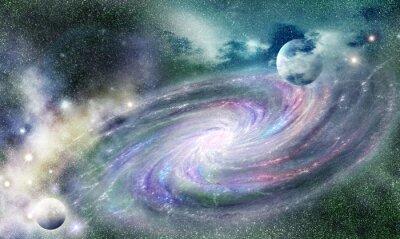 Nálepka spirální galaxie ve vesmíru