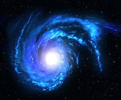 Nálepka Spirální galaxie ve vesmíru se hvězda pole pozadí.