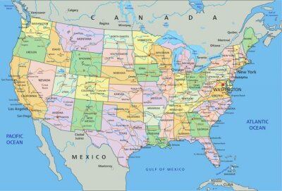 Nálepka Spojené státy americké - velmi podrobné editovatelné politická mapa s označením.