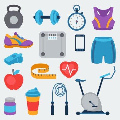 Nálepka Sport a fitness ikony nastavit v bytě stylu.