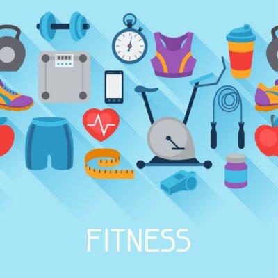 Nálepka Sportovní bezešvé vzor s fitness ikon v plochém stylu.