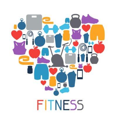 Nálepka Sportovní zázemí s fitness ikony v plochém stylu.