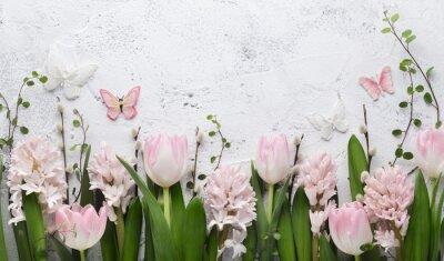 Nálepka Spring flower and butterfly